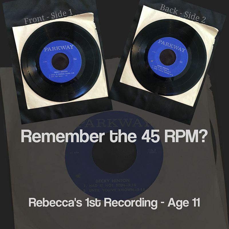 Rebecca Alderman, Persichitte, Hinton, 1st 45 RPM Recording